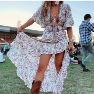 ✨Floral Print Dress Pink and Cream Boho Hi Lo✨